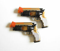 "2 NEW BATTERY OPERATED PISTOLS 9"" HANDGUN ACTION REVOLVER WITH LIGHTS AND SOUND"