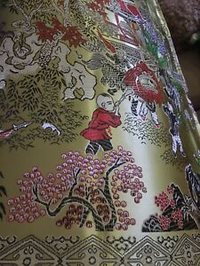 Stunning King Size Scene Gold Chinese Silk Bedspread - '100 Children'