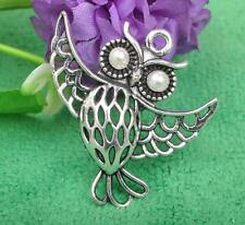 5PCS Tibetan Silver night owl Charms Beads Jewellery Beading Pendant