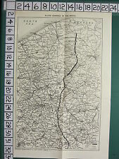 WWI WW1 MAP ~ ALLIED ADVANCE IN THE NORTH BRUGES LILLE FRENCH BELGIAN ARMY