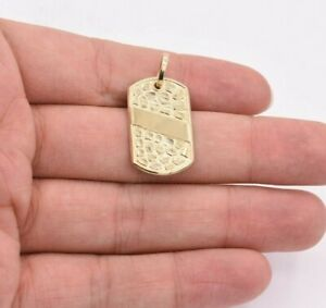 """1 3/8"""" Dog Tag Nugget Style Diamond Cut Charm Pendant Real SOLID 10K Yellow Gold"""