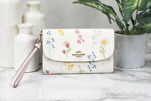 Coach C3053 Gemma Coated Leather Wildflower Print Crossbody Bag Clutch Handbag