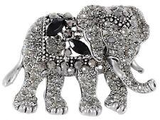 Black Crystal Brooch Pin Jewelry Fashion Indian Animal Kingdom Elephant King