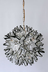MID CENTURY MODERN Murano Glass VeART CHANDELIER or PENDANT LAMP 1960s ITALY
