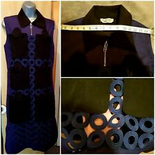 Sportmax Defile Navy Sleeveless Rare Suede Collar Pockets Cotton Dress Size L