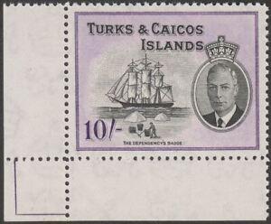 Turks and Caicos Islands 1950 KGVI 10sh Black + Violet Mint SG233 c£28 MNH spot