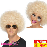 Adult Blonde 70s Funky Afro Wig Curly 1970s Wigs 70's Disco Ladies Mens Costume