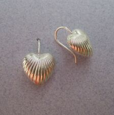 Mexico 925 Silver Taxco Threader Thick HEART Modern Line Shiny Earrings 3/4 inch