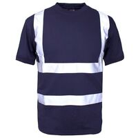 Supertouch Navy High Visibility Polyester Mens Work T Tee Shirt Short Sleeve