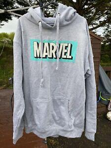 Brand New Green/Blue Marvel Logo Grey Hoodie Hoody Hooded Sweatshirt Jumper XL