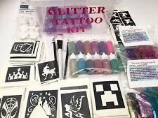 Glitter Tattoo KIT 296 large 30 mini stencils 6glues 12puffers brushes boy girl