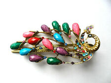JAPANESE MULTI COLOUR PEACOCK HAIR CLASP CLIP PIN STICK RHINESTONE CHINESE