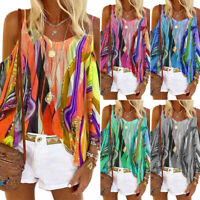 UK Womens Summer Cold Shoulder T Shirt Ladies Long Sleeve Loose Cami Tops Blouse