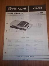 Hitachi Service Manual~AVA-100 Cassette Tape Player~Original Manual