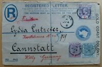 GOLD COAST / GOLDKÜSTE registered envelope 1902 - AKUSE-CANNSTADT - VERY RARE!!