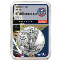2020 $1 American Silver Eagle NGC MS69 West Point Core