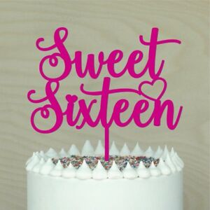 Sweet Sixteen Cake topper,16th Happy Birthday,cake decor,Lots of Colours - #2