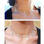 NEW Gold/Silver Star & Moon Ball Chain Crescent Moon Layer Wrap Choker Necklace