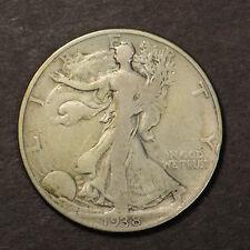 1938-D WALKING LIBERTY 50C Silver HALF DOLLAR ** KEY DATE Lot#B889
