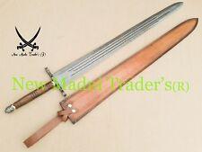 "43"" DAMASCUS CUSTOM MADE ROSE WOOD HANDLE 3 THIN FULLER'S HANDMADE SWORD"