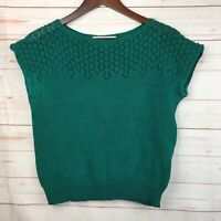 PERUVIAN CONNECTION Knit Top Cap Short Sleeve Kelly Green Pima Cotton Large L