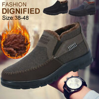 Men's Fur-lined Slip On Snow Boots Casual Winter Warm Shoes Antiskid Loafers New