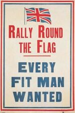 MILITARY POSTER ~ RALLY ROUND THE FLAG 24x36 Every Fit Man Wanted UK Recruiting