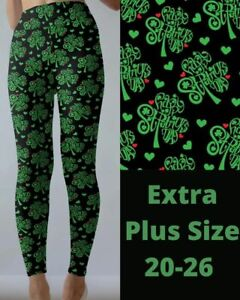 Happy St. Patrick's Day Clover Hearts Women's Leggings TC2 Extra Plus Size 20-26