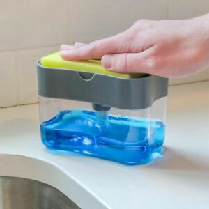 Home Liquid Soap Pump Dispenser ABS Kitchen Sponge Holder Press Rack