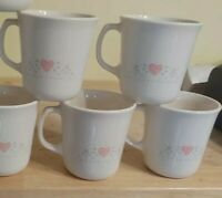 Vintage Corning Forever Yours Tall Heart Coffee Cup / Mug Set - Lot of 4