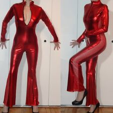 SHINY METALLIC RED CUTOUT SIDES CATSUIT JUMPSUIT FRONT ZIPPER STRETCH S M