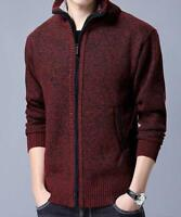 Men's Sweater Cashmere Warm Cardigan Knitted Casual Zip Pockets Cotton Wool Soft