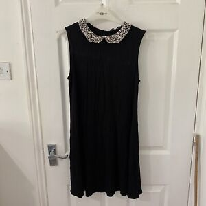 New Look Black Leopard Print Collar Trapeze Dress Size 16