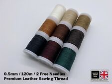 120m Super Strong Waxed Leather Sewing Thread 0.5mm Thick Plus 2 Free Needles