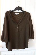 Loft by Ann Taylor collarless blouse sz.small brown boho style