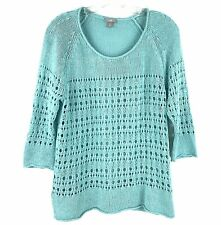 J Jill Tunic Sweater M Petite Linen Blend Crochet Knit 3/4 Sleeve Roll Neck