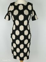Bitte Kai Rand Black Spotted Smart Stretch Fitted Pencil Dress Size S 10
