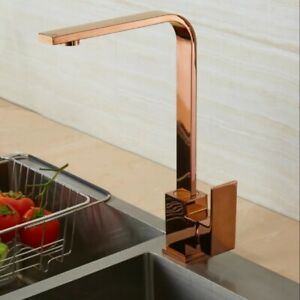 Rose Gold Kitchen Mixer Tap Faucet Basin Sink Swivel spout 360` (197)