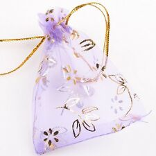 50pcs Lots Purple Organza Flower Wedding Favours Pouch Package Gift Bags 7x9cm J