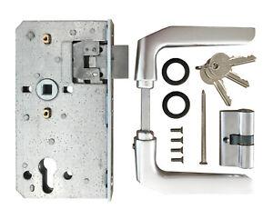 Komplett-Set Schlosseinsatz + Schließzylinder Türdrücker Tor Gartentor Toranlage