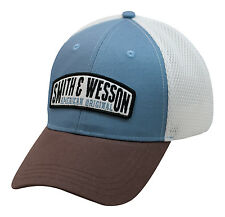 SMITH & WESSON *BLUE BROWN & WHITE PERFORMANCE MESH* Logo HAT CAP *NEW* SW85
