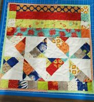 "Doll quilt! Bright, flowers and dots. Fits most dolls & 18"" Doll Bed."