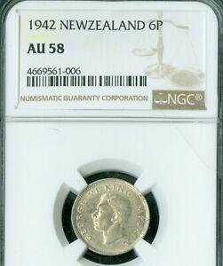 1942 NEW ZEALAND SIX PENCE 6P NGC AU-58 tough date