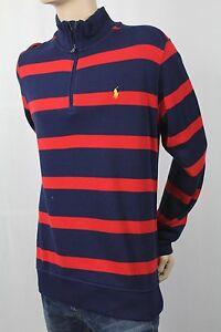 Children POLO Ralph Lauren Red Navy 1/2 Half Zip Sweater Yellow Pony NWT