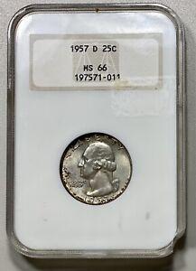 "1957-D Washington 25c Silver Quarter NGC MS 66 ""Fatty"" Holder."