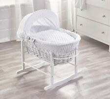 Elegant Baby Wicker Moses Basket with Deluxe Rocking Stand - White