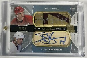 BRETT HULL STEVE YZERMAN 2014-15 UD THE CUP DUAL SCRIPTED STICKS 05/15 RED WINGS