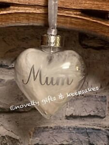 Personalised Silver Heart Shaped Feathered Christmas Bauble Any Name Memorial