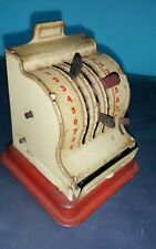 VNTG. TIN TOY CASH REGISTER CASHIER 50's MECHANICAL COIN BANK US ZONE GERMANY