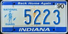 """INDIANA """" NATIONAL GUARD - BACK HOME """" 1990 Vintage IN Military License Plate"""